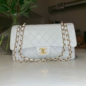 Authentic CHANEL Light Grey Lambskin Double Flap